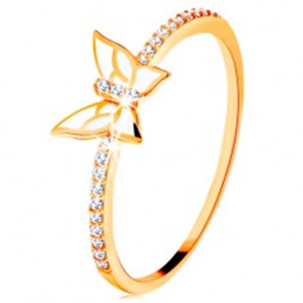 Šperky eshop Prsteň zo žltého 14K zlata - trblietavé línie, biely glazúrovaný motýľ - Veľkosť: 49 mm