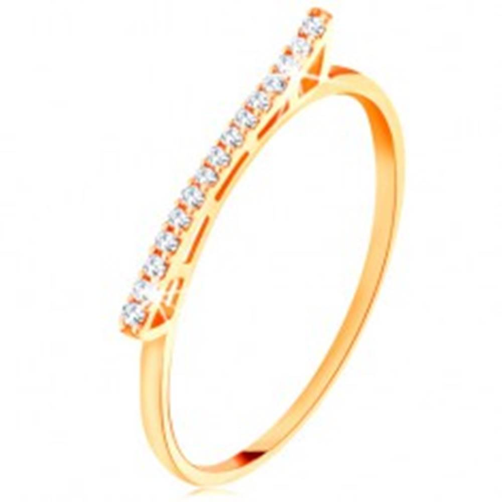 Šperky eshop Prsteň zo žltého 14K zlata - vyvýšená trblietavá vlnka  so zirkónikmi - Veľkosť: 49 mm