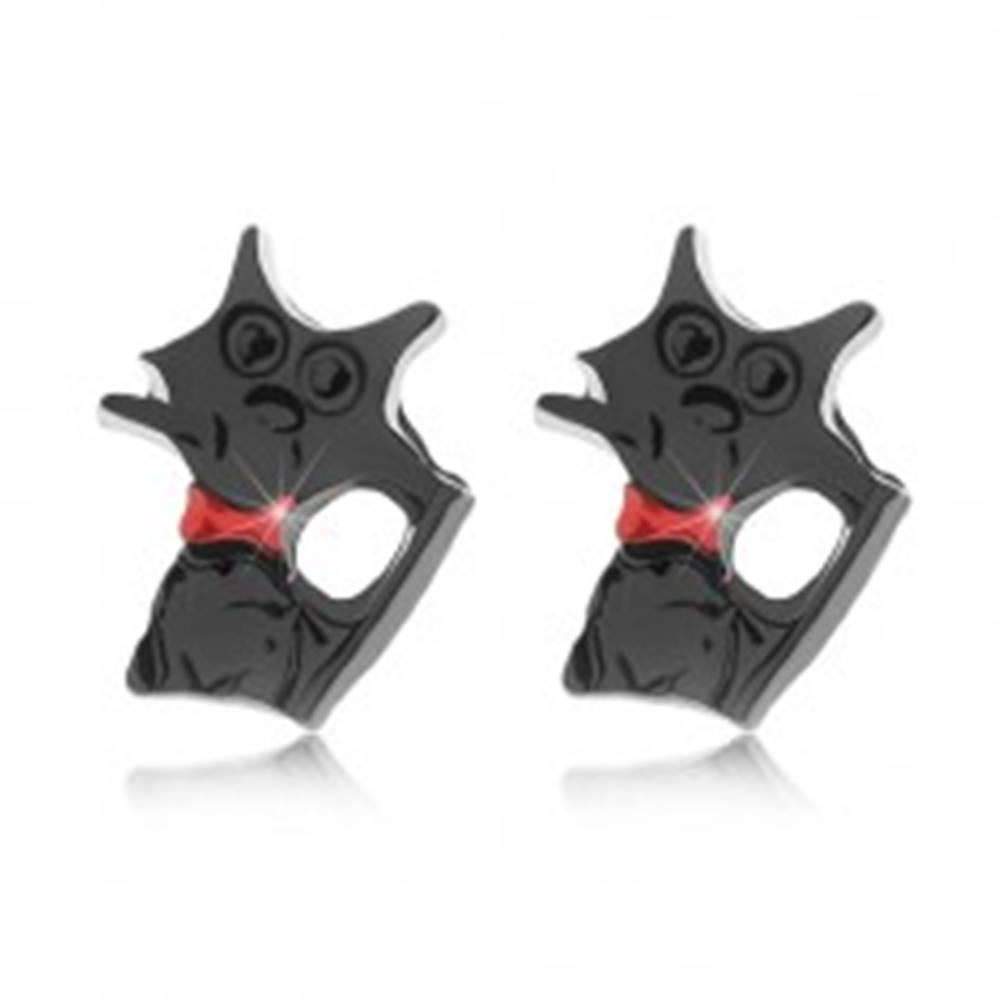 Šperky eshop Puzetové náušnice, lesklá čierna mačka s červeným obojkom