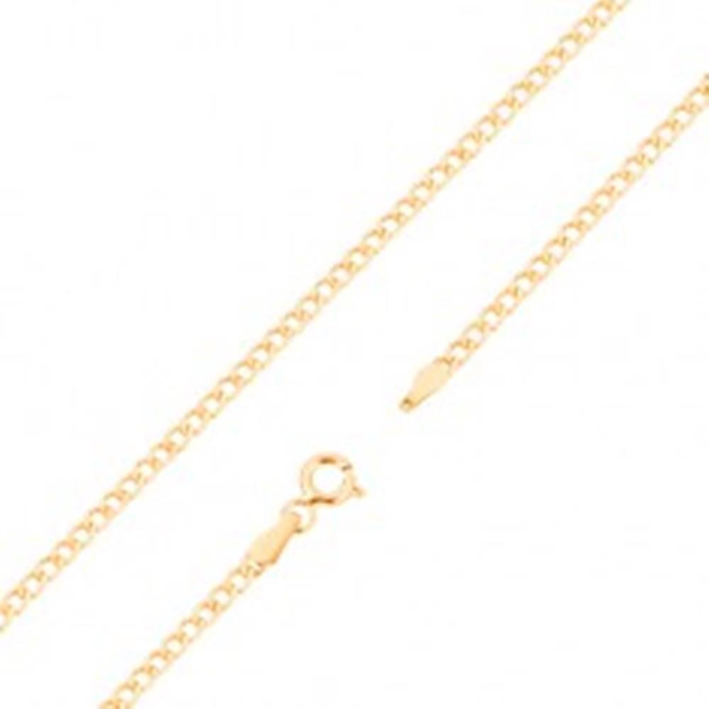 Šperky eshop Retiazka zo žltého 14K zlata - ploché elipsovité očká, 500 mm