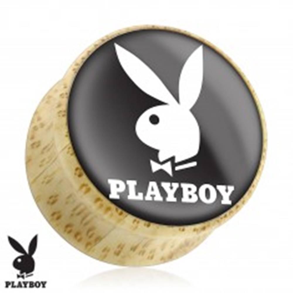 Šperky eshop Sedlový plug do ucha z prírodného dreva, zajačik Playboy, čierny podklad - Hrúbka: 10 mm