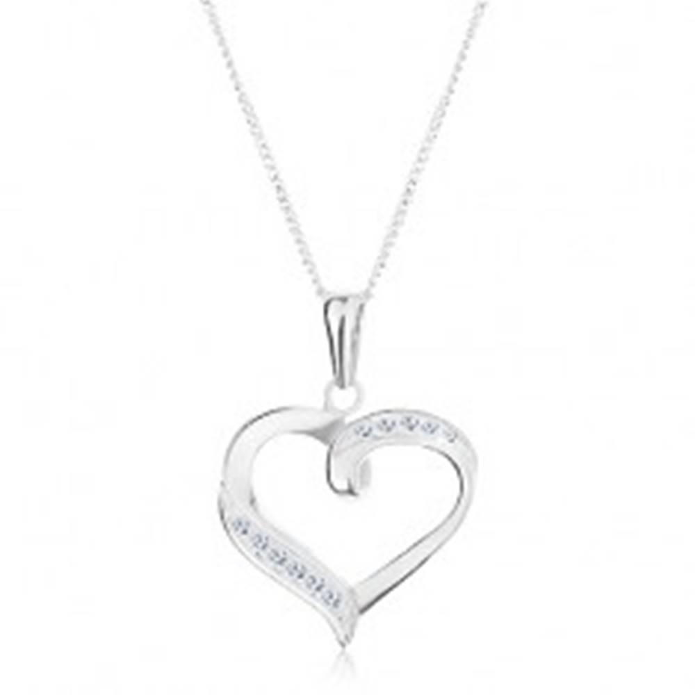 Šperky eshop Strieborný náhrdelník 925, prívesok a retiazka, kontúra srdca, číre zirkóny