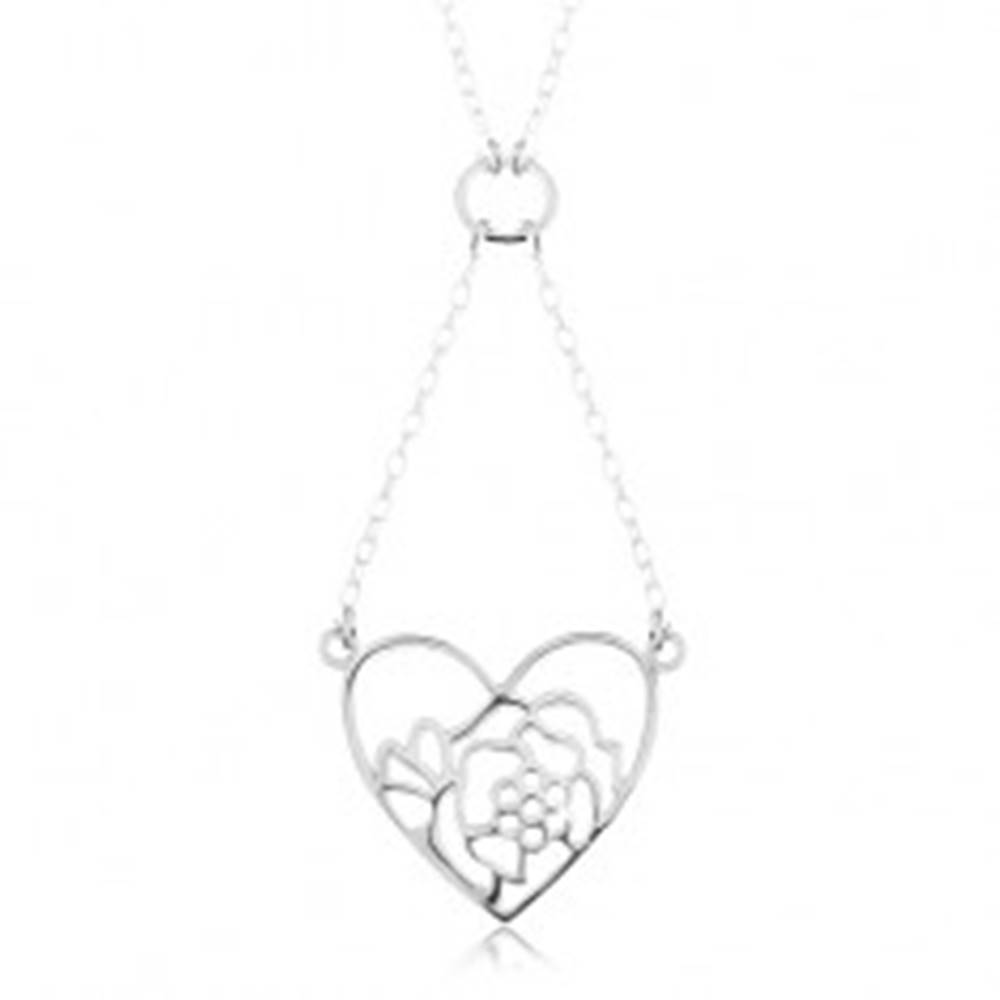 Šperky eshop Strieborný náhrdelník 925, retiazka a prívesok - obrys srdca a kvetu