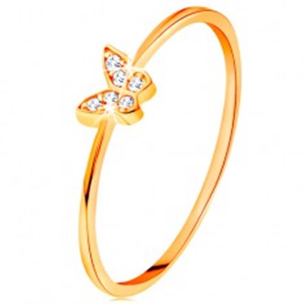 Šperky eshop Zlatý prsteň 585 - motýlik zdobený okrúhlymi čírymi zirkónmi - Veľkosť: 49 mm