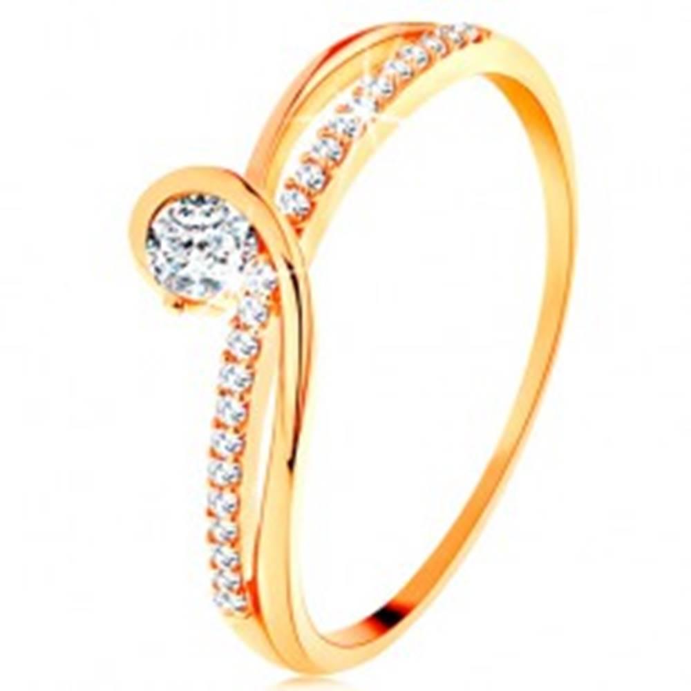 Šperky eshop Zlatý prsteň 585 s rozdelenými prepletenými ramenami, číry zirkón - Veľkosť: 49 mm