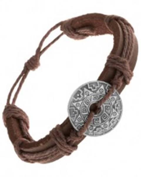 Šperky eshop Hnedý náramok zo syntetickej kože a šnúrok, kruh so vzormi a výrezom