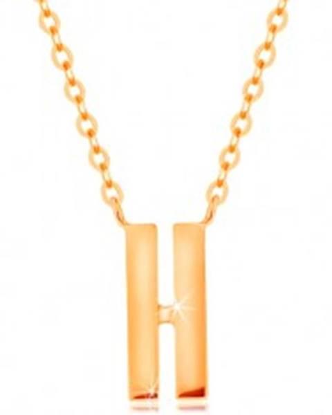 Šperky eshop Náhrdelník v žltom 14K zlate - dva úzke pásiky s hladkým a lesklým povrchom