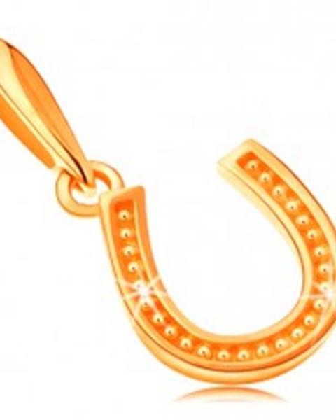 Šperky eshop Prívesok zo žltého 14K zlata, symbol šťastia - podkovička s drobnými bodkami