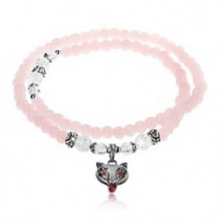 Elastický náramok, lesklé ružové a číre guličky, oceľové korálky, líška