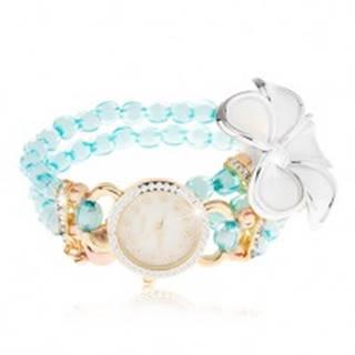 Hodinky s korálkovým modrým náramkom, ciferník so zirkónmi, biely kvet