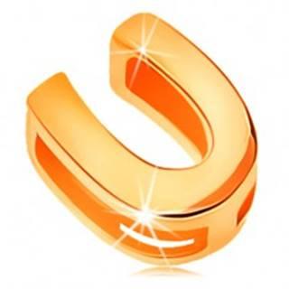 Lesklý prívesok v žltom 14K zlate, tlačené písmeno U, hladký povrch