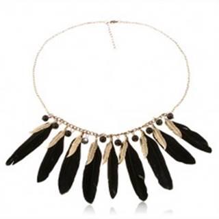 Náhrdelník s pierkami čiernej a mosadznej farby, lesklé čierne korálky