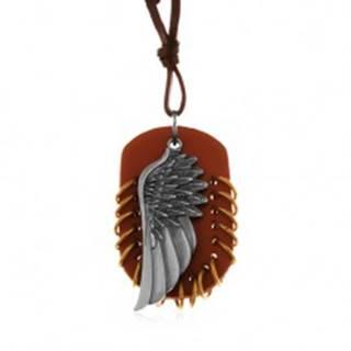Náhrdelník z umelej kože, prívesky - hnedý ovál s krúžkami a anjelské krídlo