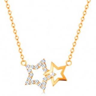 Náhrdelník zo žltého 14K zlata - dve kontúry hviezdičiek, jemná retiazka