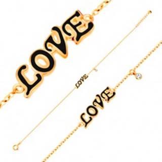 Náramok v žltom 14K zlate, prívesky - čierny glazúrovaný nápis LOVE, zirkón