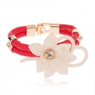 Náramok - veľký biely kvet so zirkónom, obrys srdca, ružové pásy umelej kože