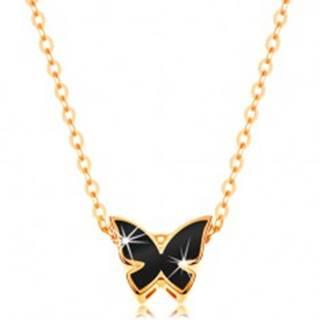Zlatý 14K náhrdelník - lesklá retiazka, motýľ zdobený glazúrou čiernej farby