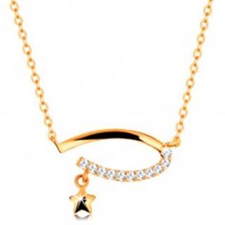 Zlatý 14K náhrdelník - neúplný ovál s čírymi zirkónmi, hviezdička, jemná retiazka