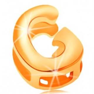 Zlatý 14K prívesok - lesklý a hladký povrch, tlačené veľké písmeno G