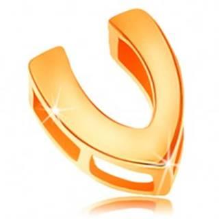 Zlatý 14K prívesok s lesklým a hladkým povrchom, tlačené písmeno V