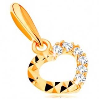 Zlatý prívesok 585 - ligotavá kontúra srdiečka, číre zirkóny a diamantový rez