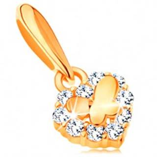Zlatý prívesok 585 - malé ligotavé srdiečko so zirkónmi a lesklý motýlik