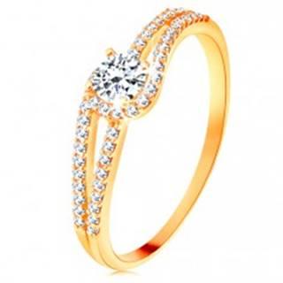 Zlatý prsteň 585 s rozdelenými trblietavými ramenami, číry zirkón - Veľkosť: 49 mm