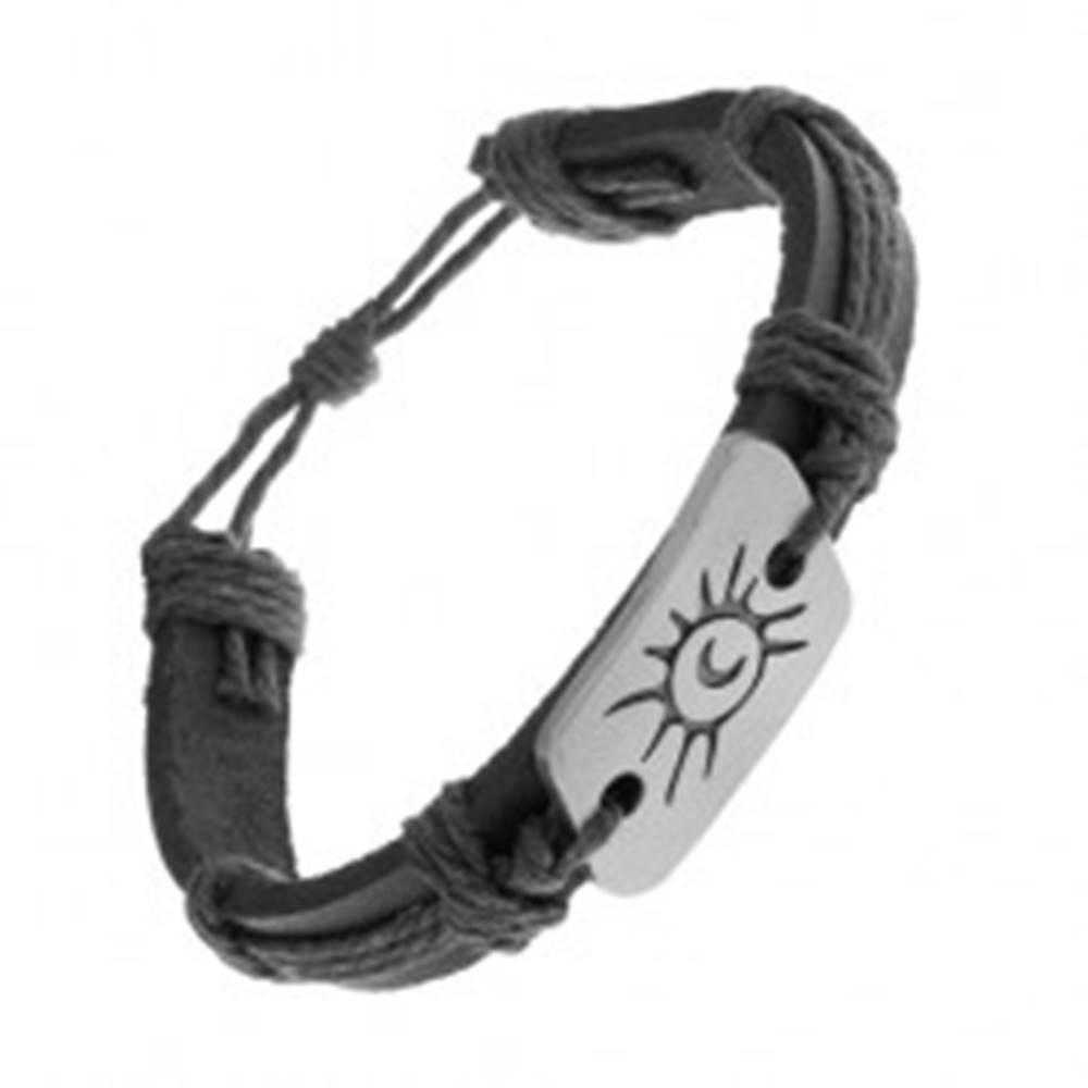 Šperky eshop Čierny náramok zo syntetickej kože a šnúrok, oceľová známka, slnko a mesiac