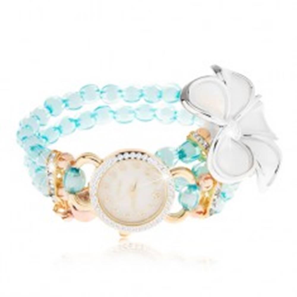 Šperky eshop Hodinky s korálkovým modrým náramkom, ciferník so zirkónmi, biely kvet