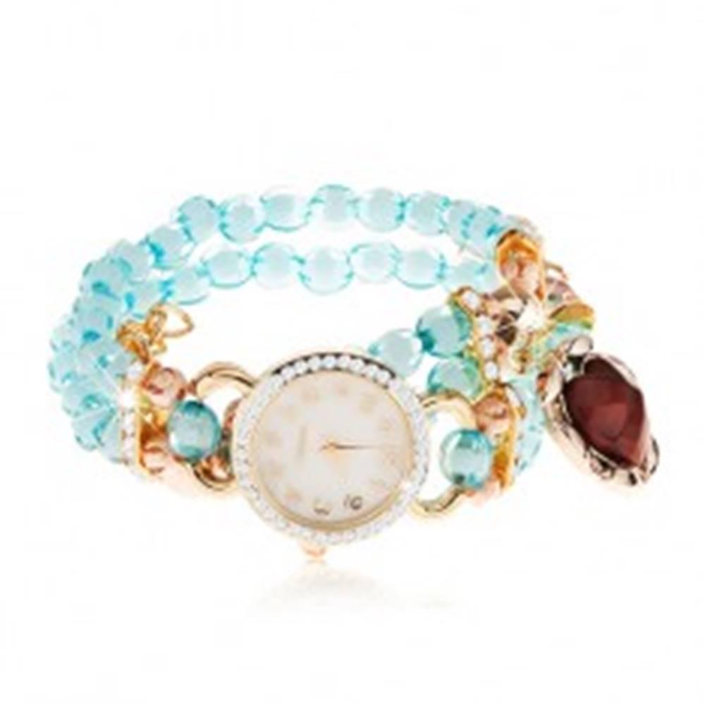 Šperky eshop Hodinky z priehľadných modrých korálok, ciferník so zirkónmi, červené srdce