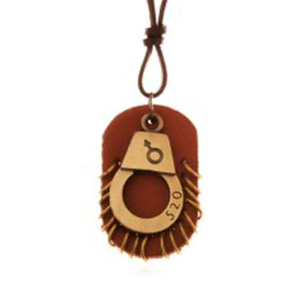 Šperky eshop Kožený náhrdelník - nastaviteľný, putá s číslom, hnedá známka s kruhmi