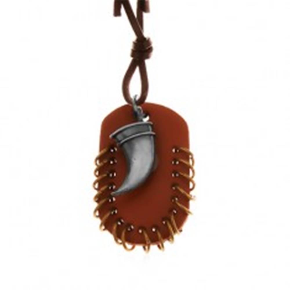 Šperky eshop Kožený náhrdelník, prívesky - hnedý ovál s malými krúžkami a zahnutý tesák