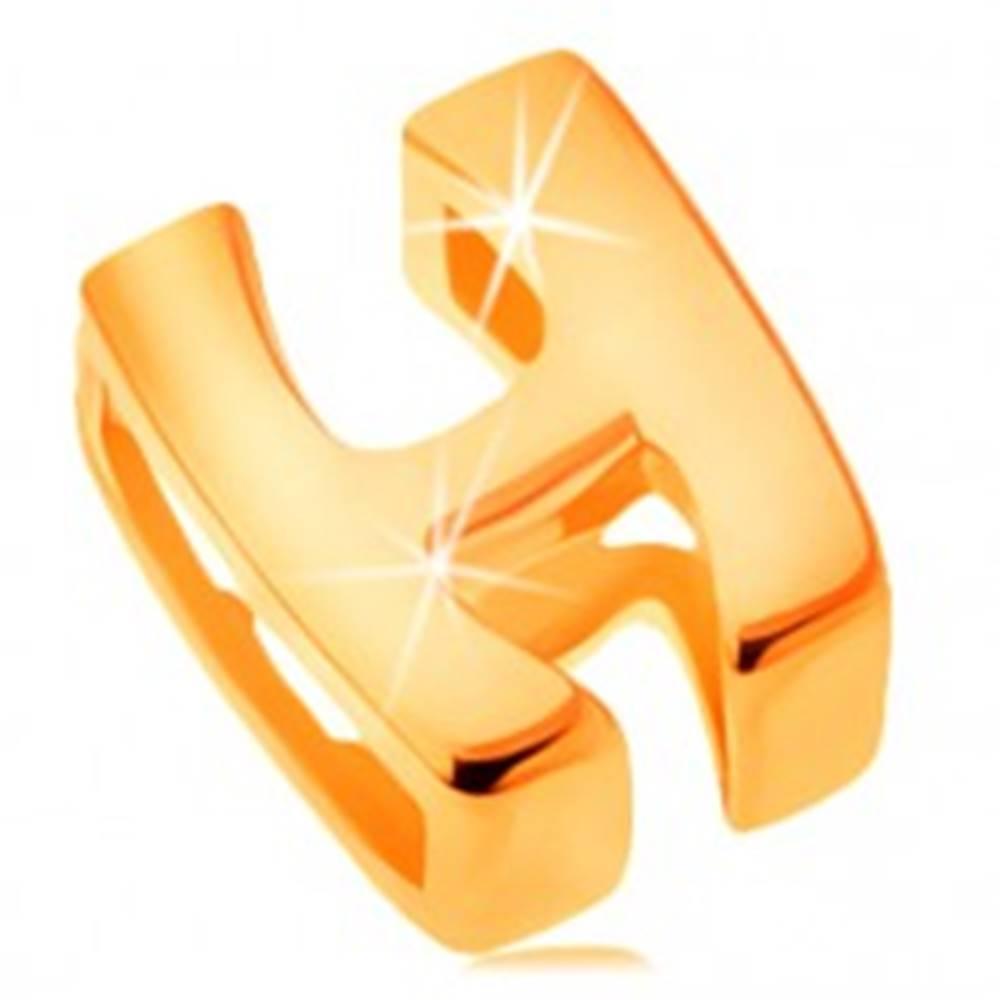 Šperky eshop Lesklý prívesok v žltom 14K zlate, tlačené písmeno H, hladký povrch
