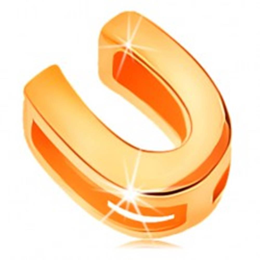 Šperky eshop Lesklý prívesok v žltom 14K zlate, tlačené písmeno U, hladký povrch