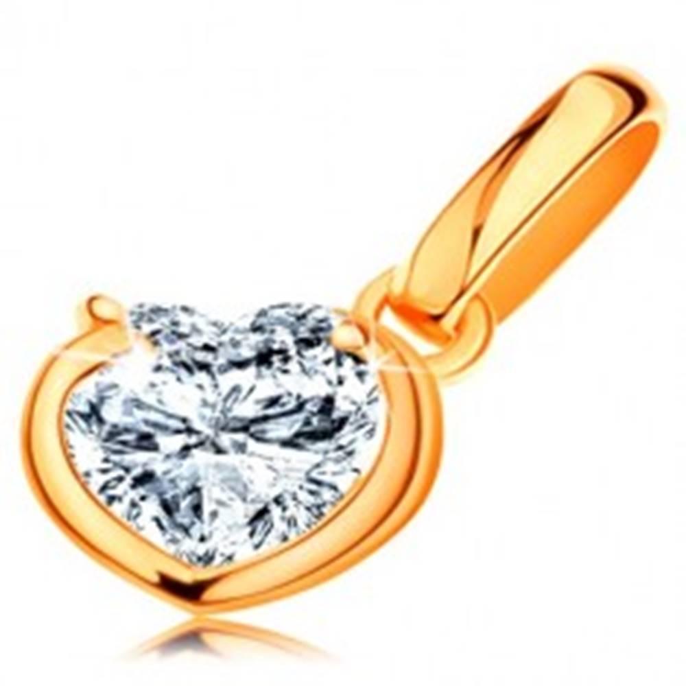 Šperky eshop Ligotavý zlatý prívesok 585 - číre zirkónové srdiečko v neúplnom obryse