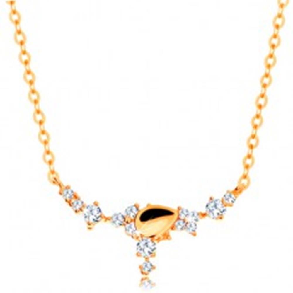 Šperky eshop Náhrdelník v žltom 14K zlate - kvapka a číre zirkónové kvietky, retiazka