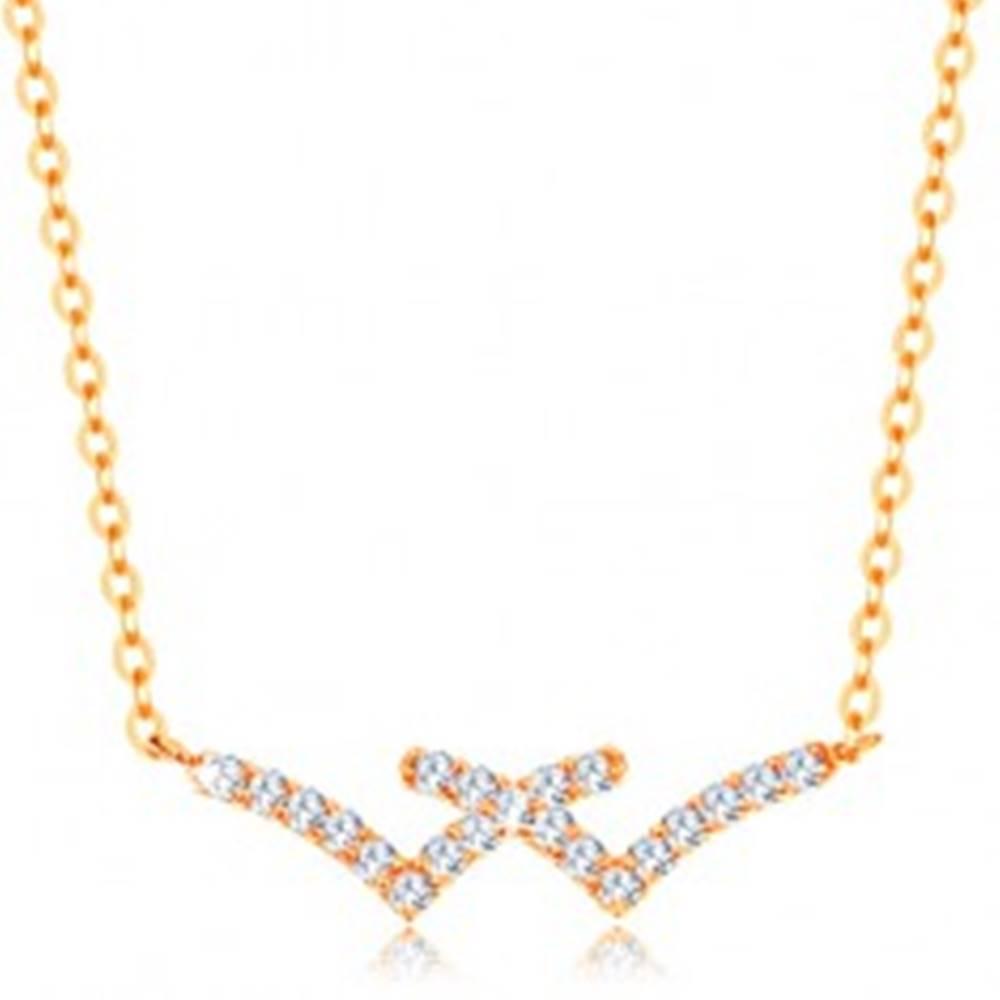 Šperky eshop Náhrdelník v žltom 14K zlate - prekrížené trblietavé línie, jemná retiazka