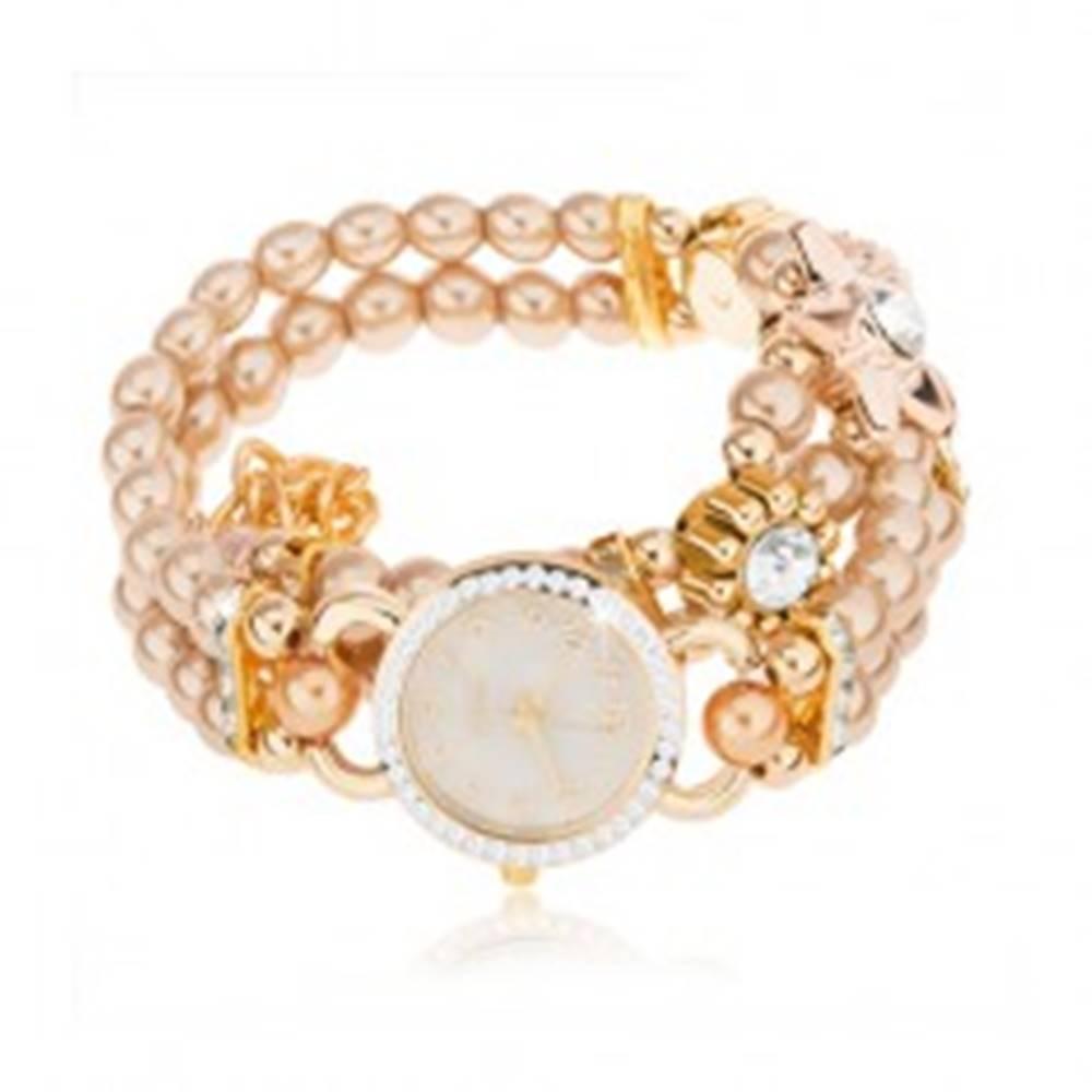 Šperky eshop Náramkové hodinky, ciferník so zirkónmi, náramok z korálok zlatej farby, kvety
