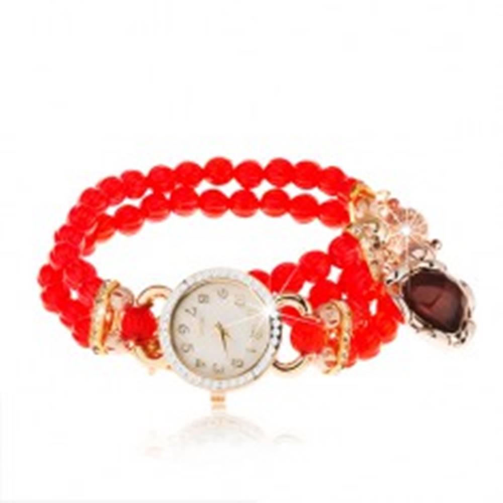 Šperky eshop Náramkové hodinky, korálkový červený náramok, srdiečko, ciferník so zirkónmi
