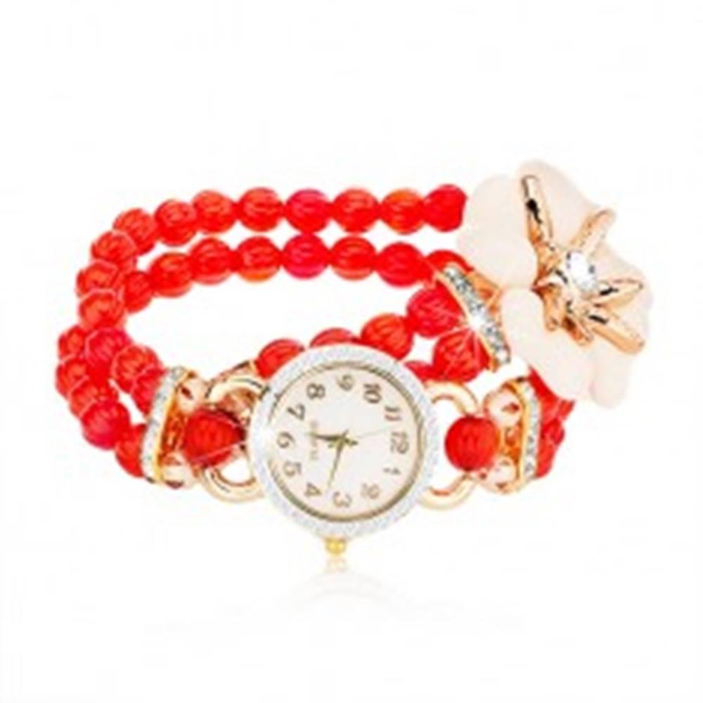 Šperky eshop Náramkové hodinky z červených korálok, ciferník so zirkónmi, biely kvet so zirkónom