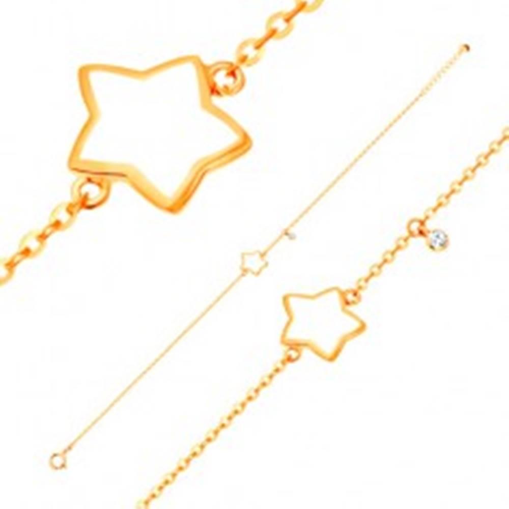 Šperky eshop Náramok v žltom 14K zlate, prívesky - hviezda s bielou glazúrou, zirkón