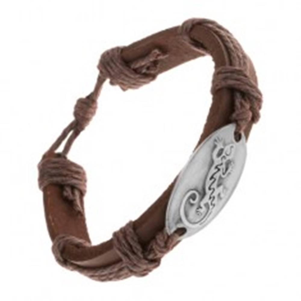 Šperky eshop Náramok z hnedej syntetickej kože a šnúrok, lesklý ovál s jaštericou