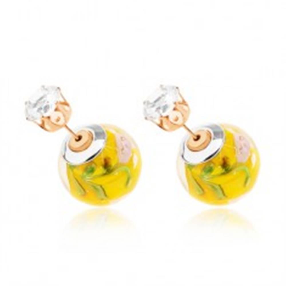Šperky eshop Obojstranné náušnice, priehľadná gulička so žltým stredom, zirkón