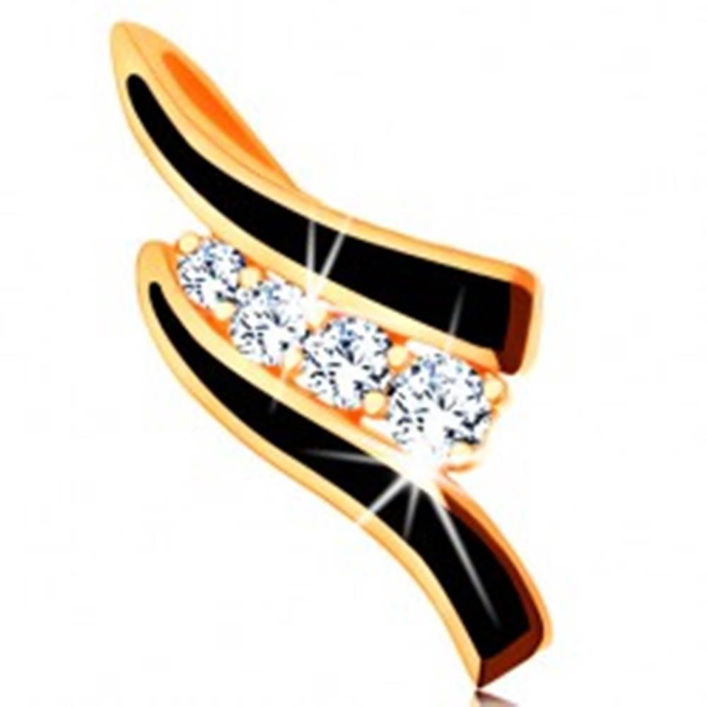 Šperky eshop Prívesok v žltom 14K zlate - dve čierne vlnky, línia čírych zirkónikov
