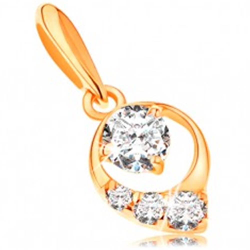 Šperky eshop Prívesok v žltom 14K zlate - kontúra kvapky, okrúhle zirkóny čírej farby