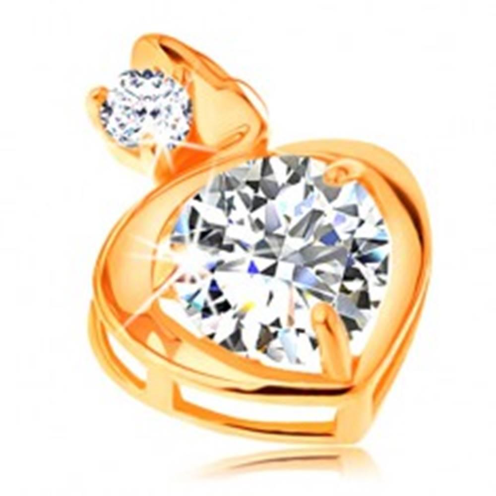 Šperky eshop Prívesok v žltom 14K zlate - obrys srdca s veľkým a malým zirkónom čírej farby