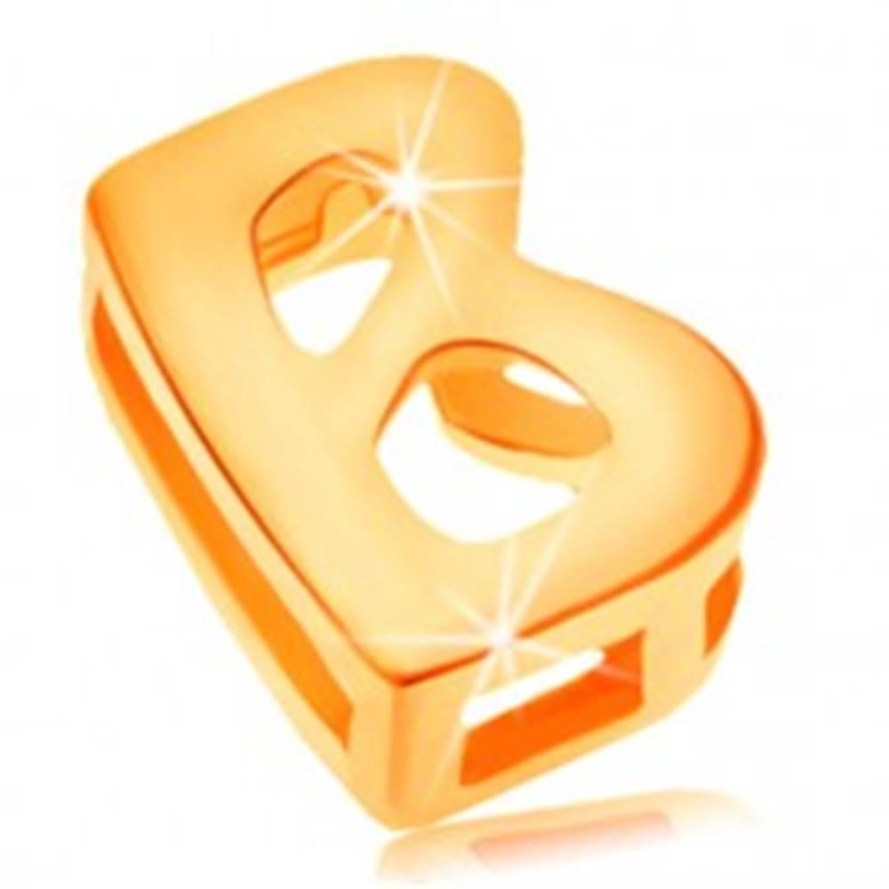 Šperky eshop Prívesok v žltom 14K zlate, tlačené písmeno B, lesklý a hladký povrch