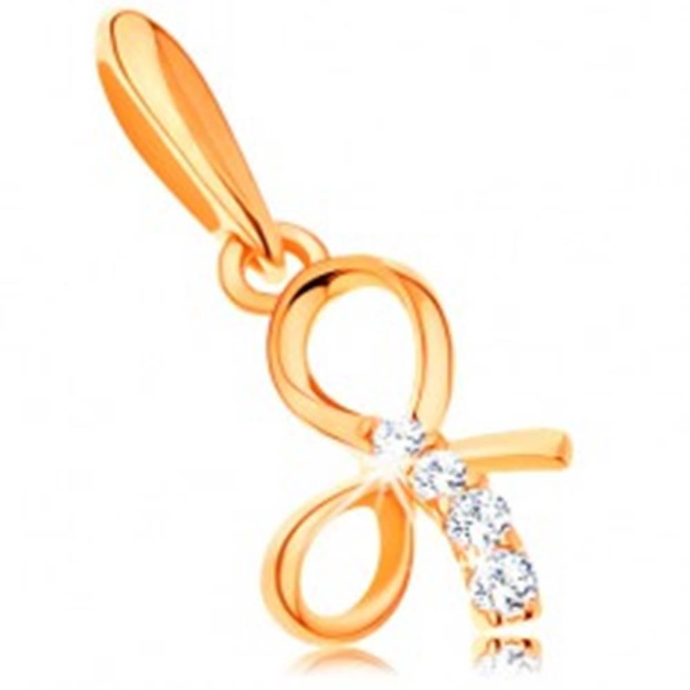 Šperky eshop Prívesok zo žltého 14K zlata - lesklá uviazaná mašlička, línia čírych zirkónov