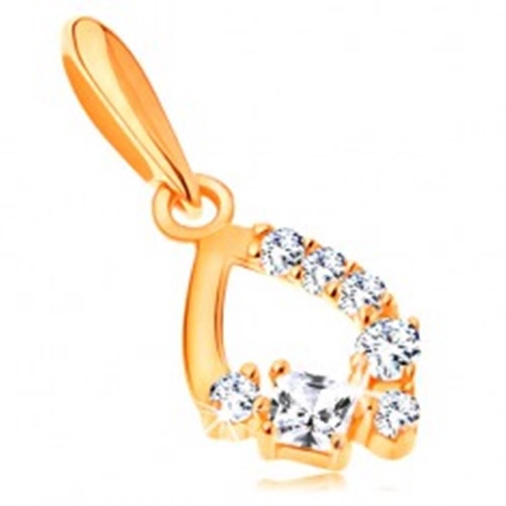 Šperky eshop Prívesok zo žltého 14K zlata - ligotavá kontúra slzy zdobená čírymi zirkónmi