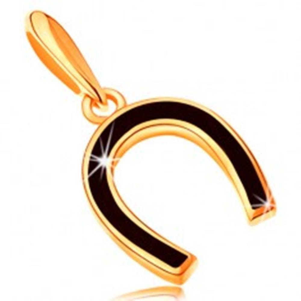 Šperky eshop Prívesok zo žltého 14K zlata - podkovička pokrytá lesklou čiernou glazúrou